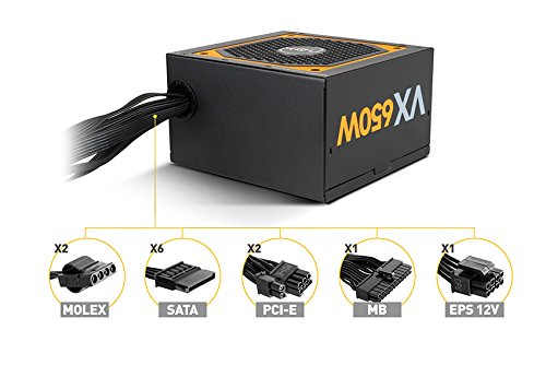 Fuente de alimentaci/ón 650 W, 200-240, 47-63, Activo, 120 W, 600 W NOX Urano VX 650W Bronze Edition 650W ATX Negro Naranja unidad de