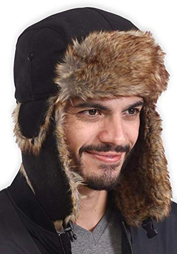 - Trapper Hat - Winter Trooper Ushanka with Faux Fur & Ear Flaps - Russian Aviator Snow Hat for Hunting, Skiing & Cold Weather Activities - Waterproof, Windproof & Thermal - Fits Men, Women & Elmer Fudd