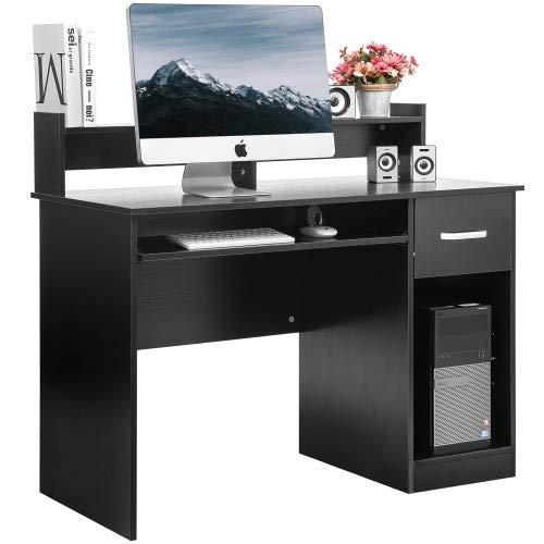 Laptop Desk Finish - Merax Home Office Desk Computer Desk Wooden PC Laptop Desk Modern Writing Table Wood Study Workstation with Storage Drawer (Black(w/Drawer))
