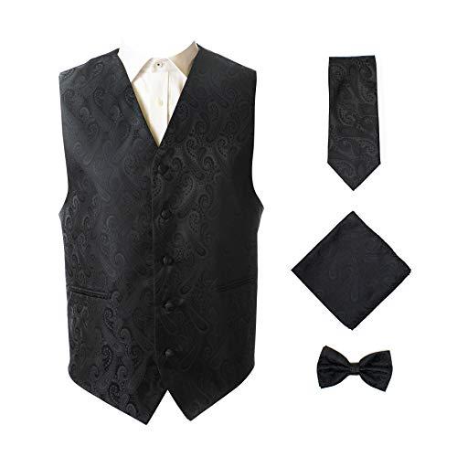 Oliver George Men's 4pc Paisley Vest-Black-M