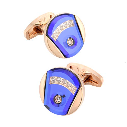 Rose Gold Crystal Cufflinks for Men Gift Mens Accessories Luxury Cuff Links Buttons for Wedding Gifts with Jewelry Box