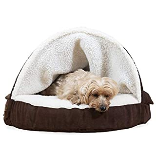 Furhaven Pet Dog Bed - Memory Foam Round Cuddle Nest Faux Sheepskin Snuggery Blanket Burrow Pet Bed w/ Removable Cover for Dogs & Cats, Espresso, 26-Inch
