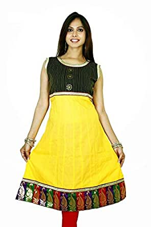 ClickonStyle Yellow Casual Kameez & Salwar Set For Girls