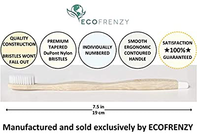 EcoFrenzy - Bamboo Toothbrush: Soft BPA Free Bristles, Biodegradable (Pack of 4)