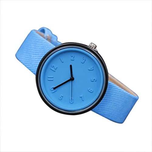 Han Shi Watch, Fashion Unisex Casual Simple Number Quartz Watches Canvas Belt Wristwatch (M, Blue) (Buckle Number)