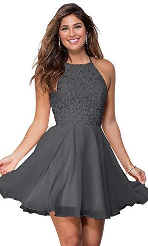 Women's Halter Spaghetti Strap Beaded Lace Chiffon Bridesmaid Dress Short Evening Gown Grey Size 6