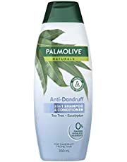Palmolive Naturals Anti Dandruff 2 in 1 Hair Shampoo & Conditioner Tea Tree + Eucalyptus for Dandruff Prone Hair Clinically Proven Technology No Parabens, 350 ml (Pack of 1)
