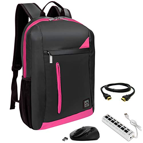 Price comparison product image VanGoddy Pink Trim Anti-Theft Laptop Backpack w / USB Hub,  HDMI Cable & Mouse Suitable Acer TravelMate,  ChromeBook,  Spin,  Swift,  Aspire,  Nitro up to 15.6inch