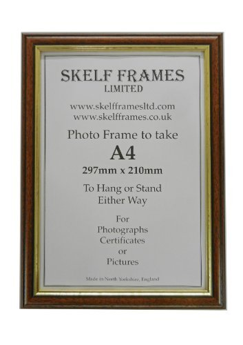A4 WOOD PICTURE PHOTO CERTIFICATE FRAME (Dark Wood with Gold Inlay ...
