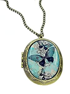 Fallen saint - Collar relicario camafeo mariposa azul