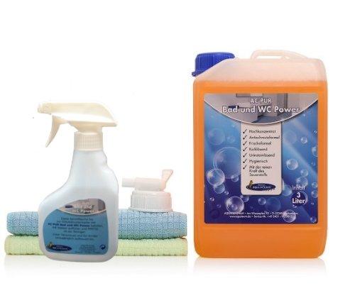 AQUA CLEAN PUR Bad- & WC-Reiniger Hochkonzentrat 3l mit Frischeformel + 2x Sanitärtücher 3-tlg.