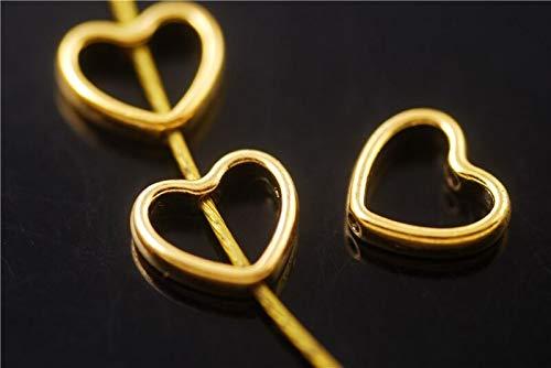 - FidgetKute Bulk 50ps Golden Heart-Shaped Beads Spacer Jewelry Charms Findings 11x12.5mm