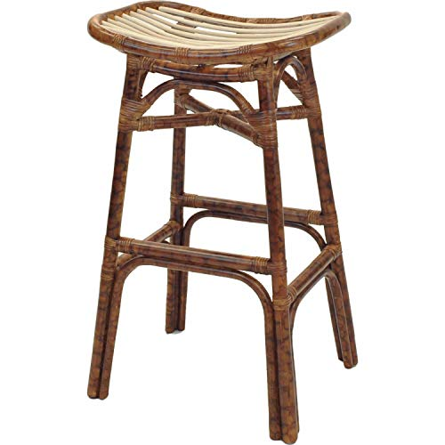 New Pacific Direct Beyla Rattan Backless Saddle Bar Bar & Counter Stools, Marble Brown (Modern Stools Wicker Bar)