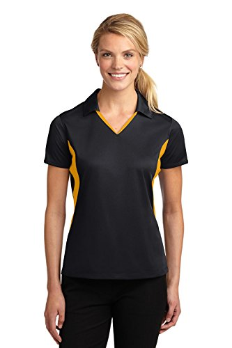 Sport-Tek Women's Side Blocked Micropique Sport Wick Polo XXL Black/ True Red