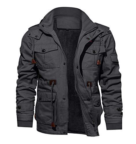 KEFITEVD Men's Warm Fleece Pocket Jacket Winter Thick Bomber Jacket Thermal Hooded Coat