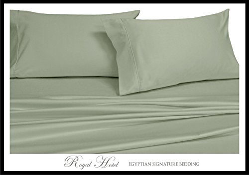 Royal Hotel's Solid Sage 1000-Thread-Count Super-Deep 4pc King Bed Sheet Set 100-Percent Cotton, Sateen Solid, Extra Deep Pocket - Set 100% Cotton