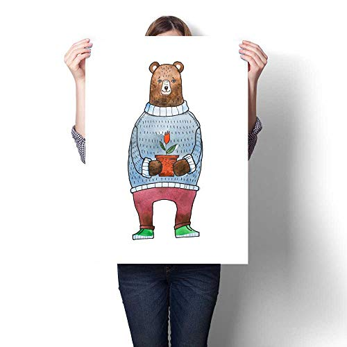 for Home Decoration Watercolor Illustration for Children of Cartoon Brown Bear Wearing Warm Sweater Holding a Flowerpot with a Flower Canvas Art Posters Prints Wall Art 32