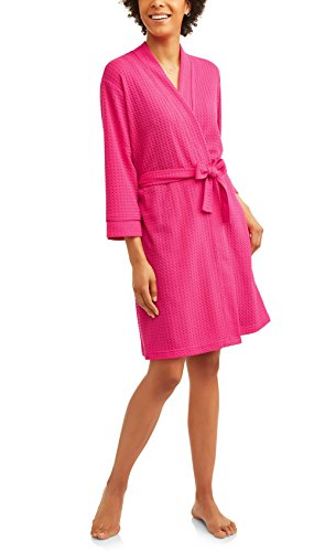 Secret Treasures Women's Textured Knit Short Wrap Robe (Pink, X-Large 16-18)