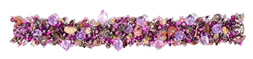 - Enchanted Imports Confetti Beaded Bracelet with Double Magnetic Clasp, Handmade in Guatemala (Purple, Pink and Lavender)