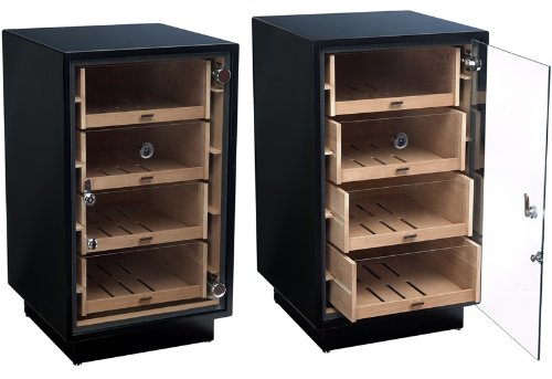 Prestige Import Group - The Manchester Modern Display Humidor with Drawers - Color: Matte Black by Prestige Import Group