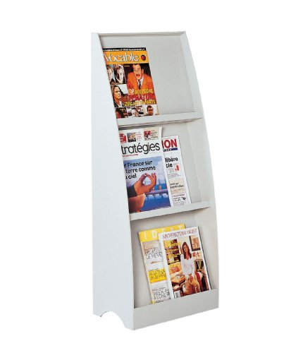 PaperFlow 43.63 x 17.44 x 10.2 Inches 3 Compartment Literature Floor Display, Single Sided, Grey (282.02)