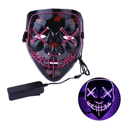 heytech LED Mask Halloween Scary Mask Cosplay Led Costume Mask EL Wire Light up for Halloween Festival Party Purple]()