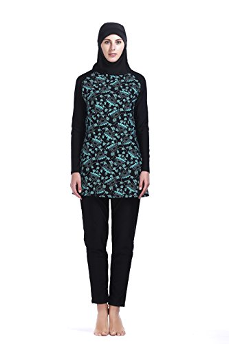 Women Muslim Swimwear Full Coverage Islamic Modest Swimsuit 3 Pieces Full Body with Hijab Sun Protection (MS04,XL) by MZ Garment
