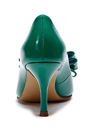 Women's Mid Evening Heel Pointed TDA Party Leather Patent Dress Stiletto Shoes Toe Bowknot Green Sexy dawCYwZq