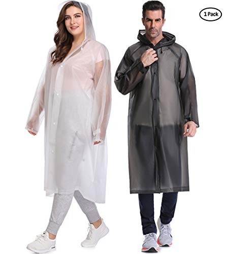 EnergeticSky Multifunctional Rain Poncho,EVA Portable Raincoat with Hoods and Sleeves,No Chemical Smell,Reusable & Thicken and Perfect for Hiking,Disneyland,or Camping.(Multi-Size) (White, L)