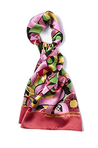 Women's Silk Breast Cancer Pink Ribbon Neck Scarf
