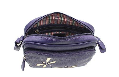 Mala Piel AZUL Colección de hombro de cuero suave / Cross Body Bag 781_81 púrpura morado