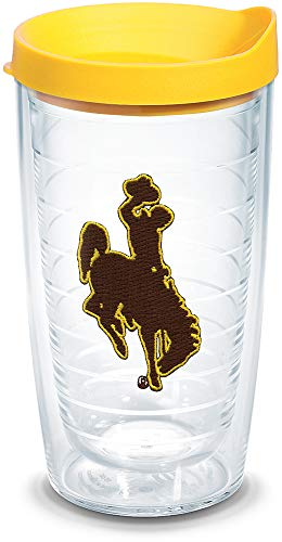 Tervis 1062565 Wyoming Cowboys Logo Tumbler with Emblem and Yellow Lid 16oz, Clear