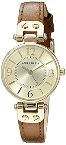 Anne Klein Women's 109442CHHY Gold-Tone Champagne Dial and Brown Leather Strap Watch (Leather Round Watch)