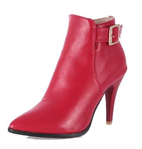 AgooLar Damen PU Rein Leder Spitz Zehe Hoher Absatz Stiefel, Rot, 41