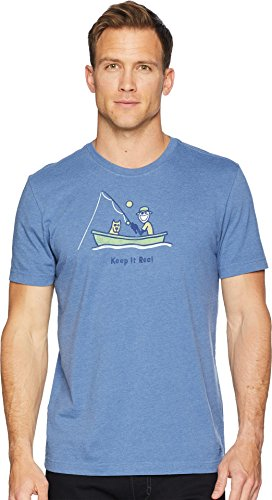 Life is Good crusher tee Classic Keep It Reel Heather Vintage Blue, X-Large by Life is Good