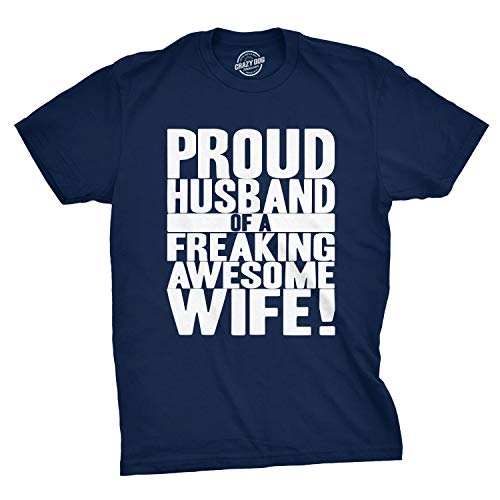 Crazy Dog T-Shirts Mens Proud Husband of a Freaking Awesome Wife Funny Valentines Day T Shirt (Navy) - - Dog Awesome T-shirt