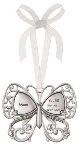 Mom You Fill My Heart With Love Butterfly Silver & Crystal Filigree Ornament