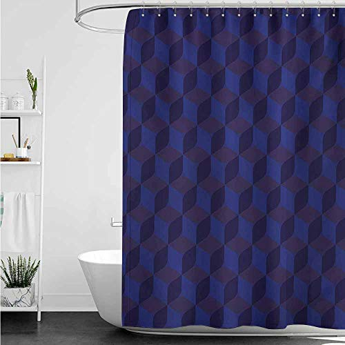 home1love Bathroom Curtains,Indigo 3D Print Like Geometrical Futuristic Inspired Shadow Boxes Cubes Image Print,Shower Hooks are Included,W55x86L,Dark Blue and Blue