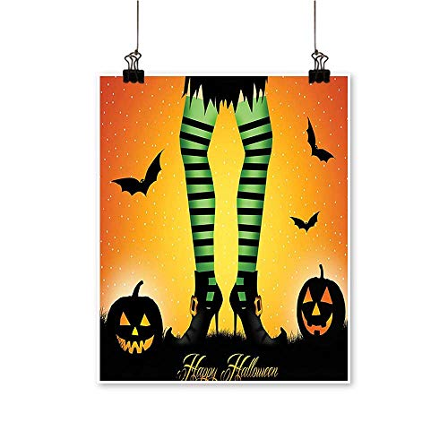Modern Painting Witch Legs Striped Leggings Culture cept Bats and Pumpkins Artwork for Home Decorations,20