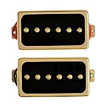 Kmise Single Coil Pickups Bridge and Neck Set for Les Paul LP Electric Guitar Parts Replacement Black with Gold Frame