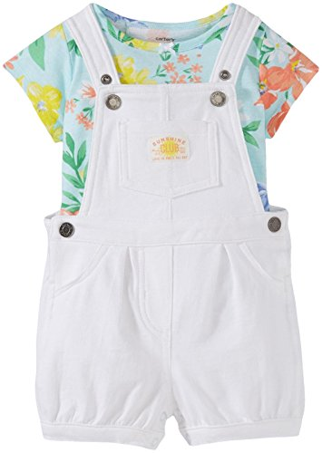 (Carter's Baby Girls' 2 Piece Shortall Set 121g501, Floral, New Born)