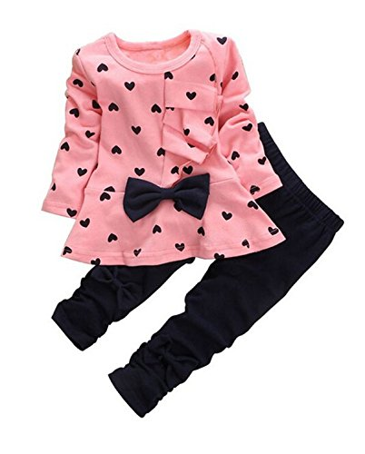 Jastore Baby Girl Cute 2pcs Set Children Clothes Suit Top and Pants Fall Clothes