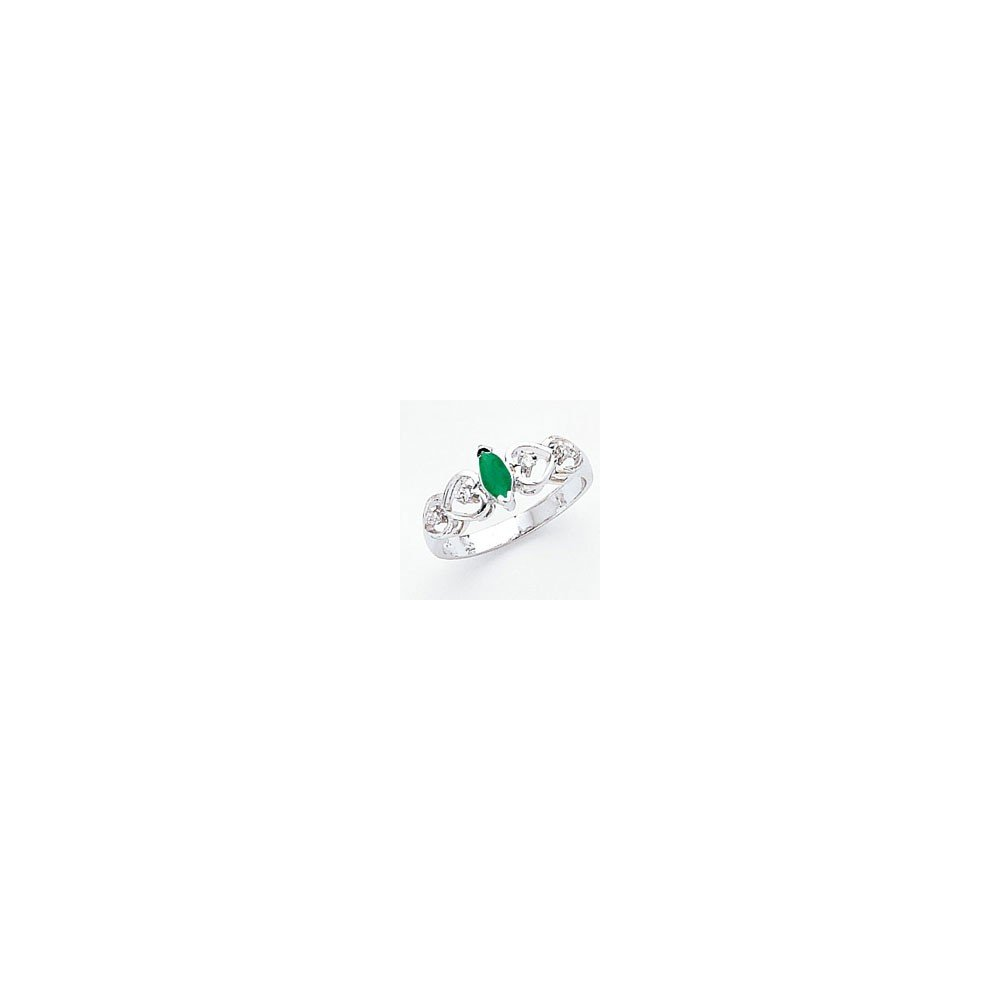 Jewelry Adviser Rings 14k White Gold 6x3mm Marquise Emerald AA Diamond ring Diamond quality AA I1 clarity, G-I color