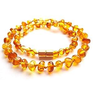Amberta Collier Ambre 35cm. – 100% Plus Haute Qualite Certifie l'Ambre la Baltique Authentique Collier Perles. Fermoir…