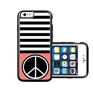 RCGrafix Brand Peace Black Stripes & Coral black iPhone 6 Case - Fits NEW Apple iPhone 6