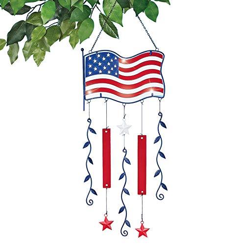 (Collections Etc USA Flag Shiny Glass Suncatcher Dangler - Patriotic Hanging Outdoor Decorative Accessory)