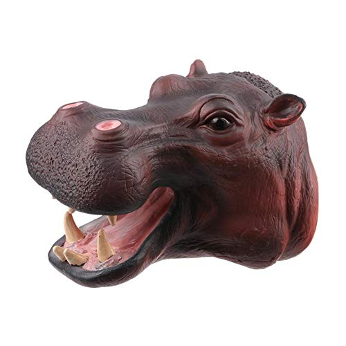 (Brightric Soft Vinyl PVC Lifelike Hippo Animal Head Model Hand Puppet Toys Hand Doll)