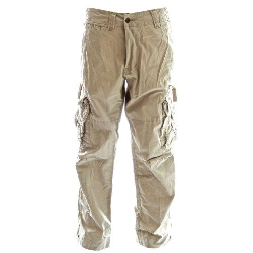Classic Cargo Mens Combat Pants - Tough Premium Quality 100% Cotton Army Cargos, Large Desert Khaki Cream Khaki Cargo Cream