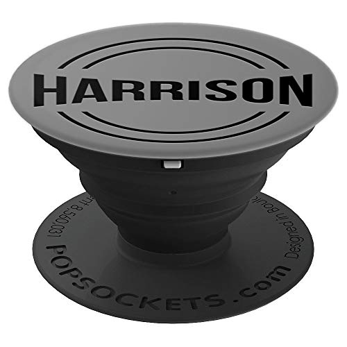 First Name Harrison Black Text on Grey PACH800 - PopSockets Grip and Stand for Phones and Tablets