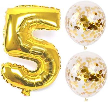 お誕生日パーティー 風船 飾り付け バルーンx2 数字(5)バルーン ゴールドx1 風船セット(QQ-005)